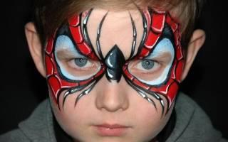 Как нарисовать человека паука на лице, аквагрим паутина
