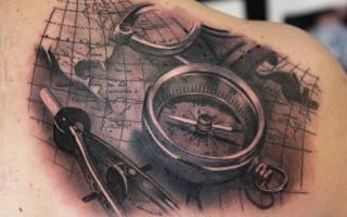 Что означает тату компас, татуировка в виде компаса