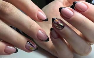 Дизайн ногтей френч черно белый – французский маникюр черный с серебром
