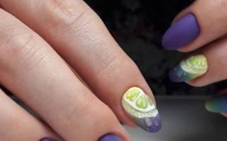 Сиреневый маникюр с блестками, дизайн ногтей фиолетовый с желтым