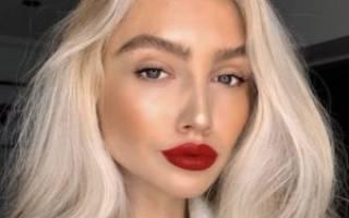 Макияж с красными губами для блондинок, рубиновый цвет помады