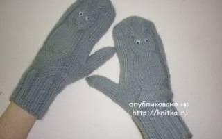 Варежки совы спицами схемы и описание, картинка рукавички для детей