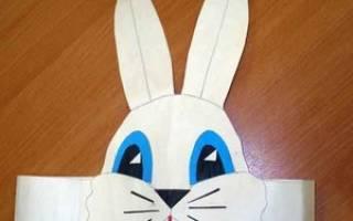 Маска зайца на голову из бумаги распечатать, шаблон мордочки зайчика
