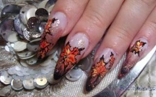 Кленовый лист на ногтях пошагово нарисовать: маникюр с листьями клена
