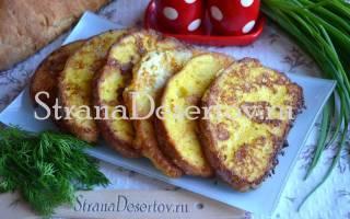 Как приготовить вкусные гренки из батона, жареный хлеб с яйцами