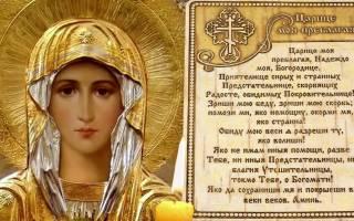 Молитва ко Пресвятой Богородице царице моя преблагая