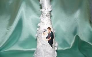 Декупаж свадебных бутылок и бокалов: как украсить шампанское салфетками?