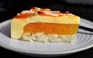 Кофейный бисквит, мандариновый мусс для торта