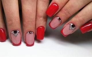 Красный френч на длинные ногти