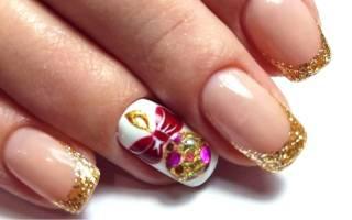 Новогодний френч на ногтях фото, ногти дизайн на новый год